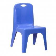 "Flash Furniture YU-YCX-011-BLUE-GG Blue Plastic Stackable School Chair with Carrying Handle and 11"" Seat Height"