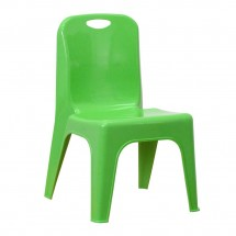 "Flash Furniture YU-YCX-011-GREEN-GG Green Plastic Stackable School Chair with Carrying Handle and 11"" Seat Height"