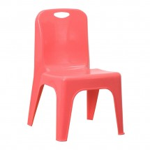 "Flash Furniture YU-YCX-011-RED-GG Red Plastic Stackable School Chair with Carrying Handle and 11"" Seat Height"