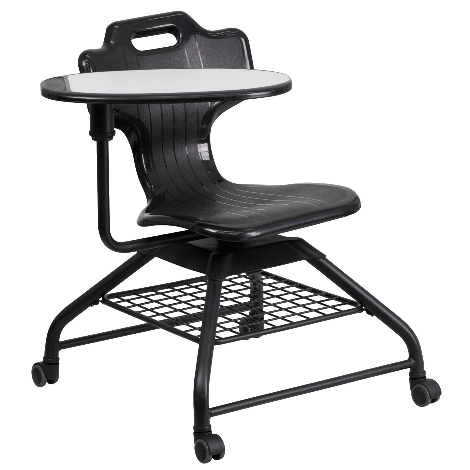 Flash Furniture YU-YCX-015-GG Black Mobile Classroom Chair with Swivel Tablet Arm