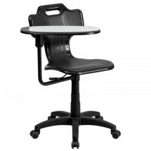 Flash Furniture YU-YCX-032-GG Black Mobile Task Chair with Swivel Tablet Arm