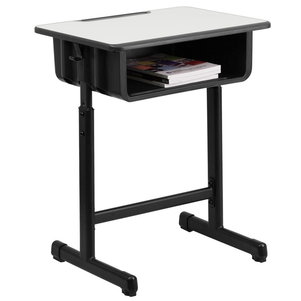 Flash Furniture YU-YCY-046-GG Grey Top Student Desk with Adjustable Height Black Pedestal Frame
