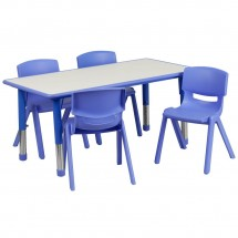 "Flash Furniture YU-YCY-060-0034-RECT-TBL-BLUE-GG Adjustable Rectangular Blue Plastic Activity Table Set with 4 School Chairs 23-5/8"" x 47-1/4"""