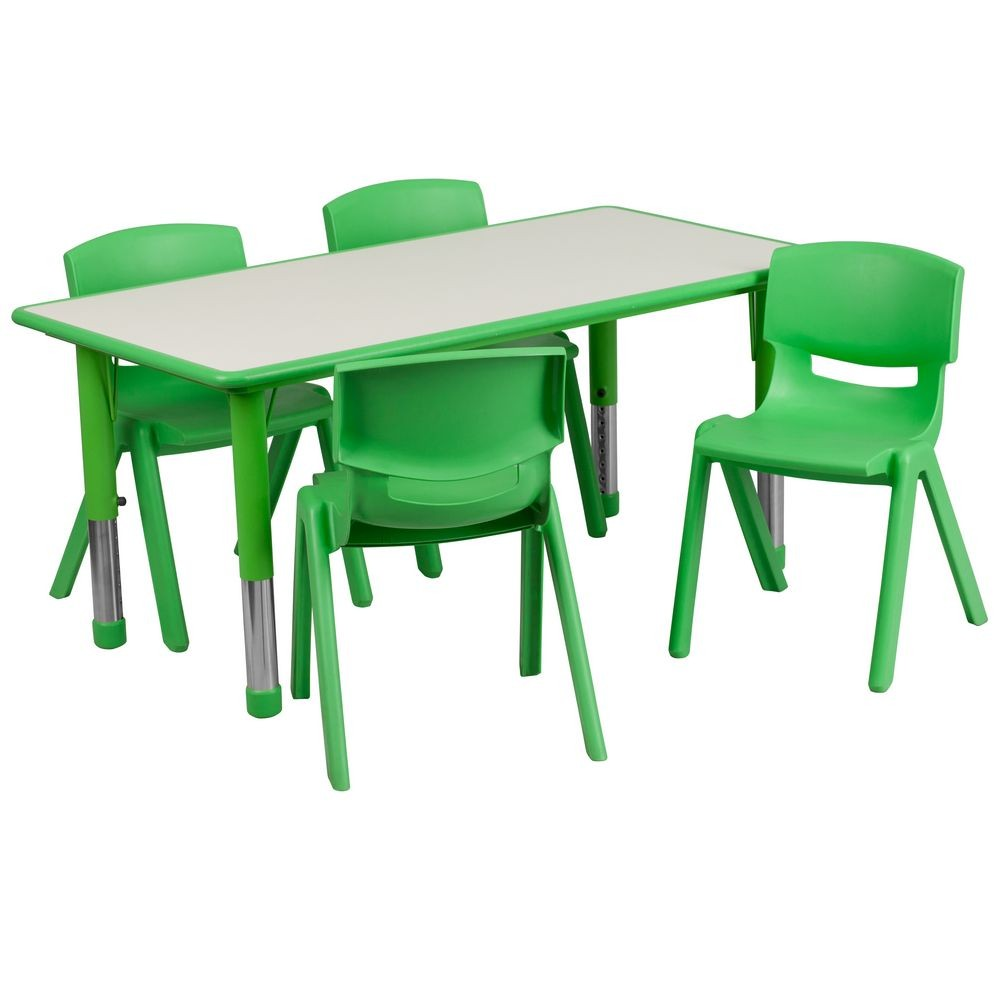 "Flash Furniture YU-YCY-060-0034-RECT-TBL-GREEN-GG Adjustable Rectangular Green Plastic Activity Table Set with 4 School Chairs, 23-5/8"" x 47-1/4"""