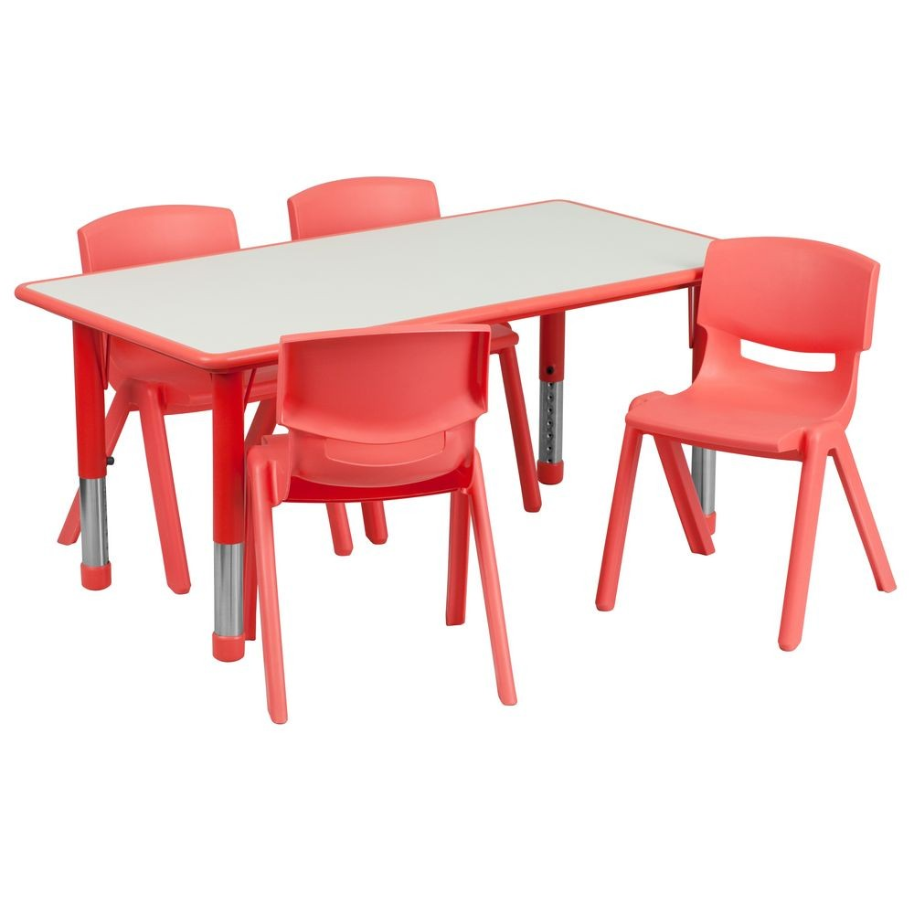 "Flash Furniture YU-YCY-060-0034-RECT-TBL-RED-GG Adjustable Rectangular Red Plastic Activity Table Set with 4 School Chairs, 23-5/8"" x 47-1/4"""