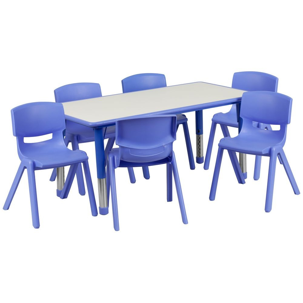 "Flash Furniture YU-YCY-060-0036-RECT-TBL-BLUE-GG Adjustable Rectangular Blue Plastic Activity Table Set with 6 School Chairs, 23-5/8"" x 47-1/4"""