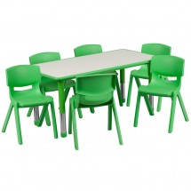 "Flash Furniture YU-YCY-060-0036-RECT-TBL-GREEN-GG Adjustable Rectangular Green Plastic Activity Table Set with 6 School Chairs, 23.625"" x 47.25"""
