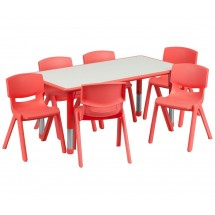 "Flash Furniture YU-YCY-060-0036-RECT-TBL-RED-GG Adjustable Rectangular Red Plastic Activity Table Set 6 School Stack Chairs, 23-5/8"" x 47-1/4"""