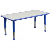 Flash Furniture YU-YCY-060-RECT-TBL-BLUE-GG Height Adjustable Rectangular Blue Plastic Activity Table with Grey Top 23-5/8 x 47-1/4