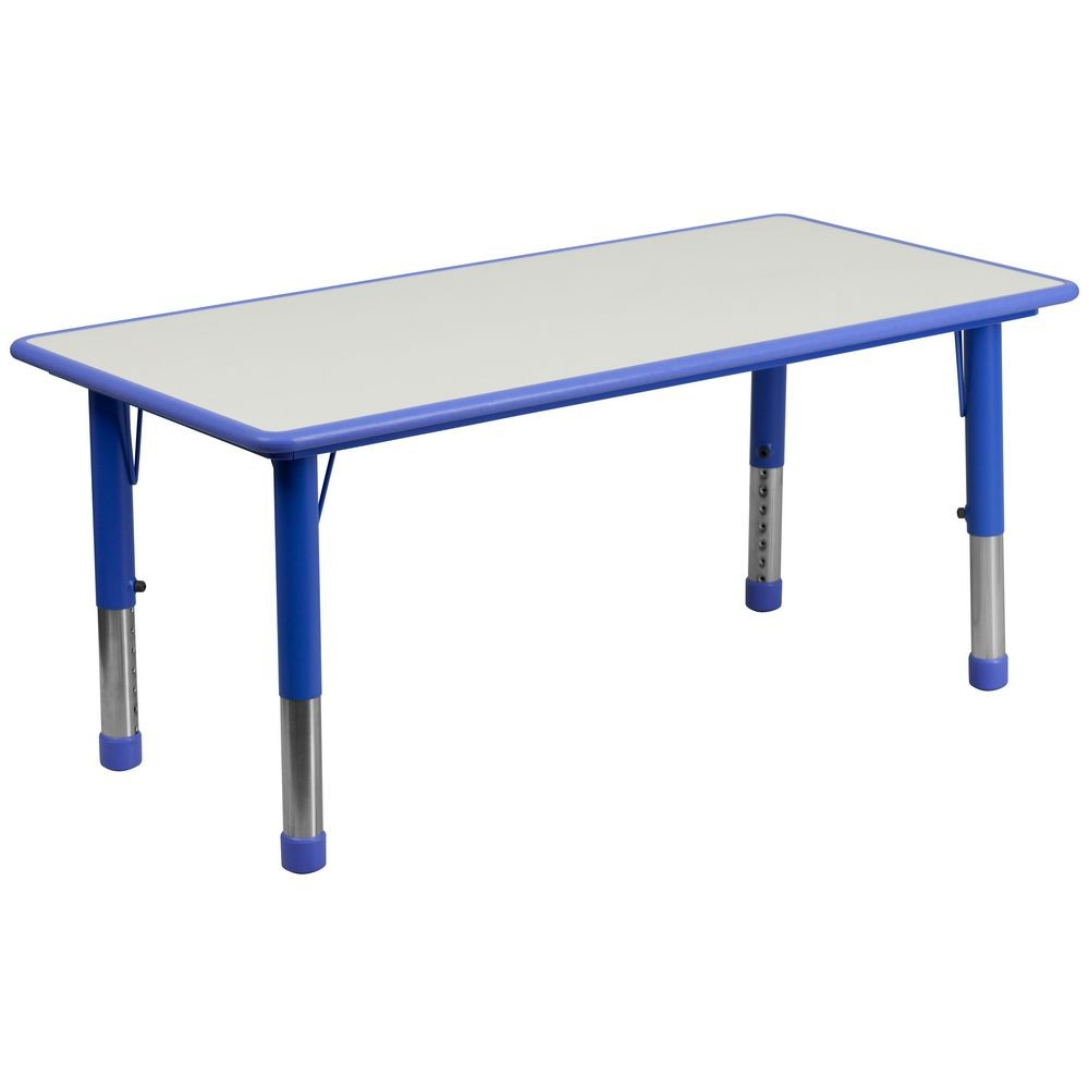 "Flash Furniture YU-YCY-060-RECT-TBL-BLUE-GG Height Adjustable Rectangular Blue Plastic Activity Table with Grey Top, 23.625"" x 47.25"""