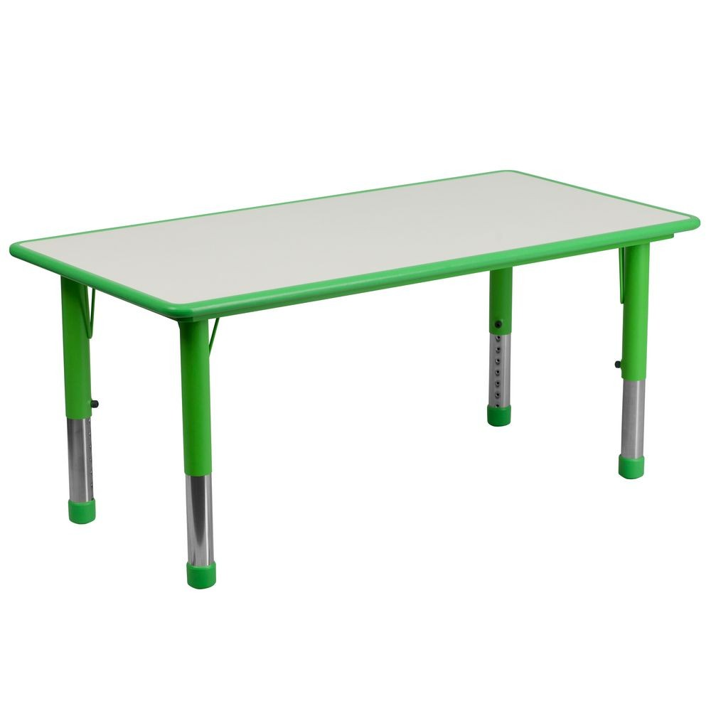 "Flash Furniture YU-YCY-060-RECT-TBL-GREEN-GG Height Adjustable Rectangular Green Plastic Activity Table with Grey Top, 23-5/8"" x 47-1/4"""