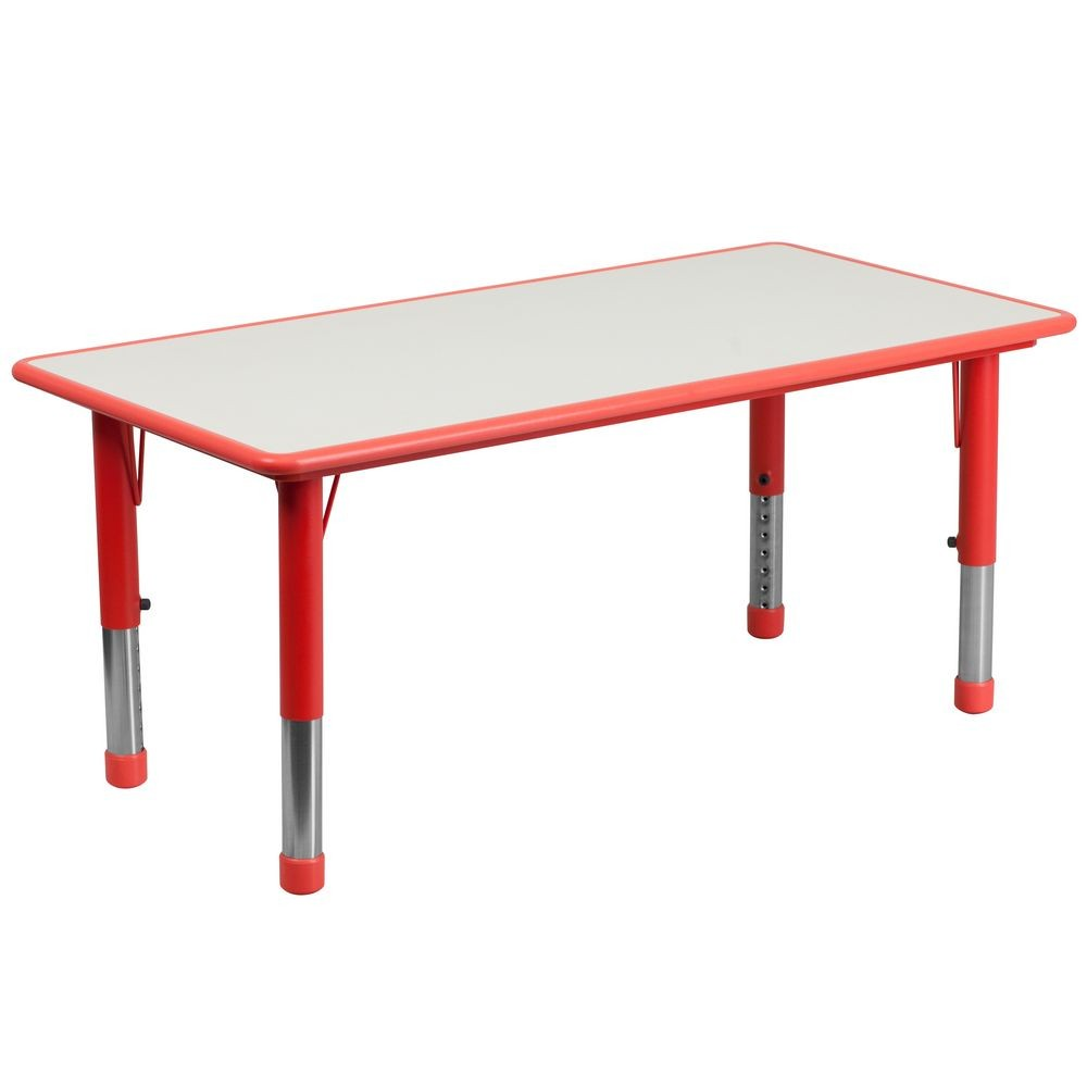 "Flash Furniture YU-YCY-060-RECT-TBL-RED-GG Height Adjustable Rectangular Red Plastic Activity Table with Grey Top, 23-5/8"" x 47-1/4"""