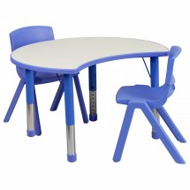 "Flash Furniture YU-YCY-093-0032-CIR-TBL-BLUE-GG Height Adjustable Blue Plastic Activity Table Set with 2 School Stack Chairs 25-1/8"" x 35-1/2"""