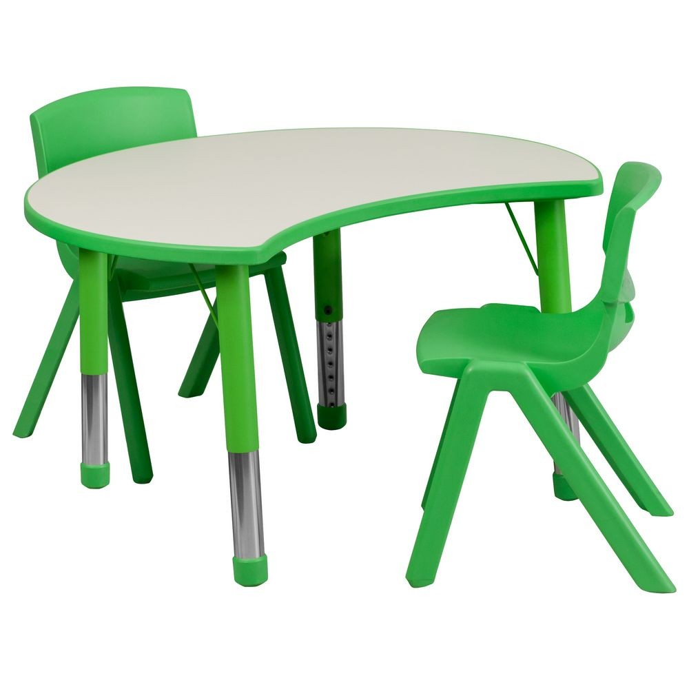 "Flash Furniture YU-YCY-093-0032-CIR-TBL-GREEN-GG Height Adjustable Green Plastic Activity Table Set with 2 School Stack Chairs, 25-1/8"" x 35-1/2"""