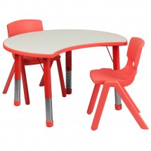 "Flash Furniture YU-YCY-093-0032-CIR-TBL-RED-GG Height Adjustable Red Plastic Activity Table Set with 2 School Stack Chairs 25-1/8"" x 35-1/2"""