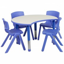 "Flash Furniture YU-YCY-093-0034-CIR-TBL-BLUE-GG Height Adjustable Blue Plastic Activity Table Set with 4 School Stack Chairs 25-1/8"" x 35-1/2"""