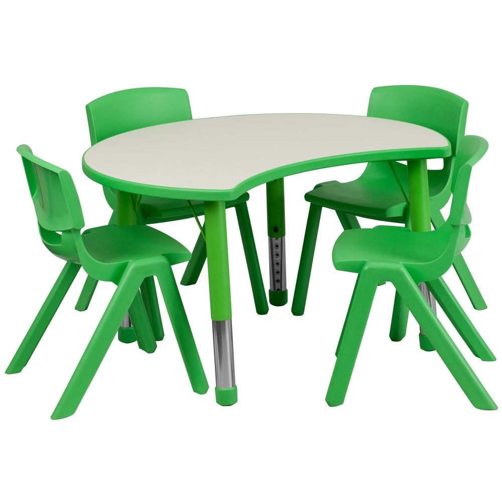 "Flash Furniture YU-YCY-093-0034-CIR-TBL-GREEN-GG Height Adjustable Green Plastic Activity Table Set with 4 School Stack Chairs, 25.125"" x 35.5"""