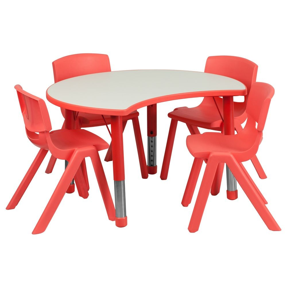 "Flash Furniture YU-YCY-093-0034-CIR-TBL-RED-GG Height Adjustable Red Plastic Activity Table Set with 4 School Stack Chairs, 25.125"" x 35.5"""