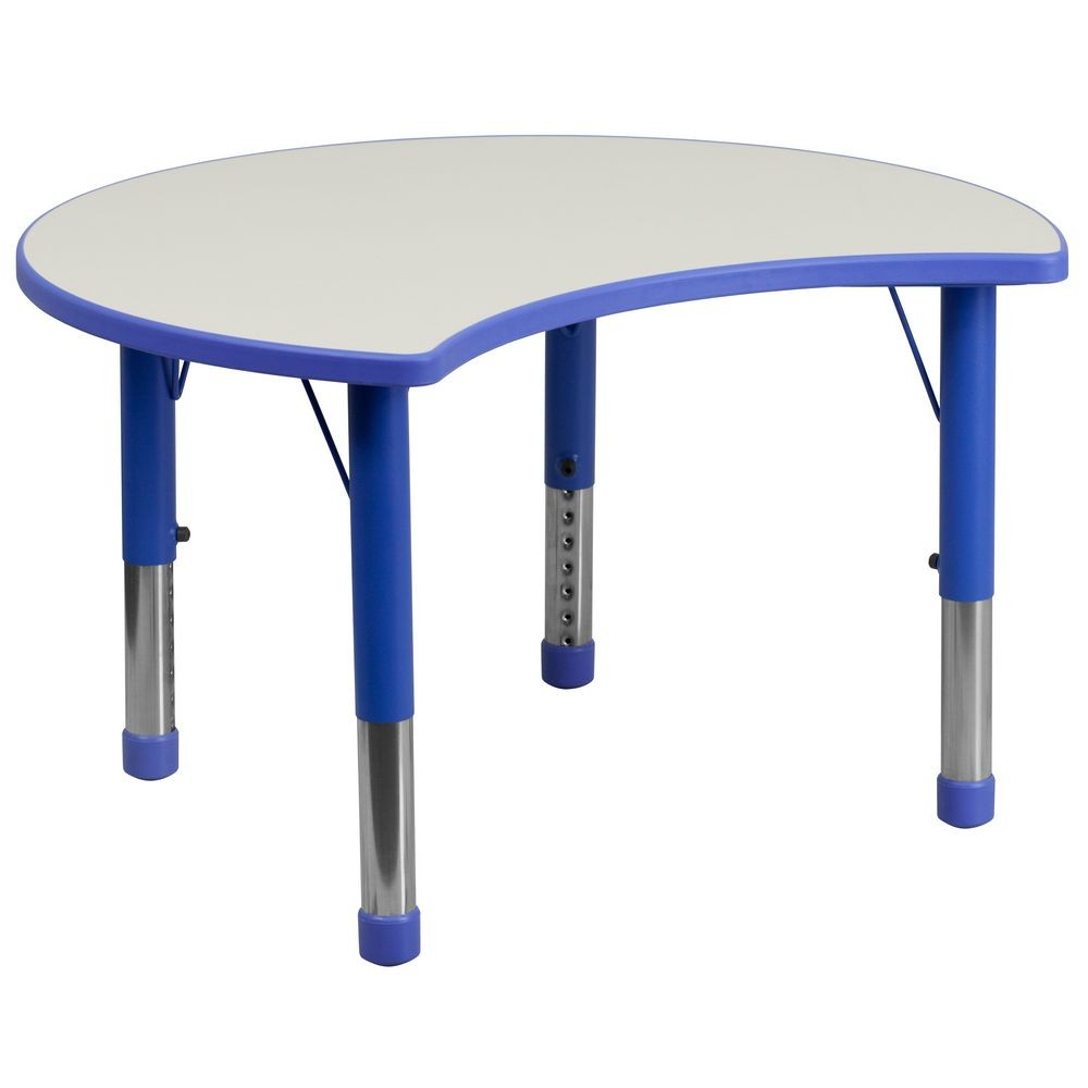 "Flash Furniture YU-YCY-093-CIR-TBL-BLUE-GG Height Adjustable Blue Plastic Activity Table with Grey Top 25-1/8"" x 35-1/2"""