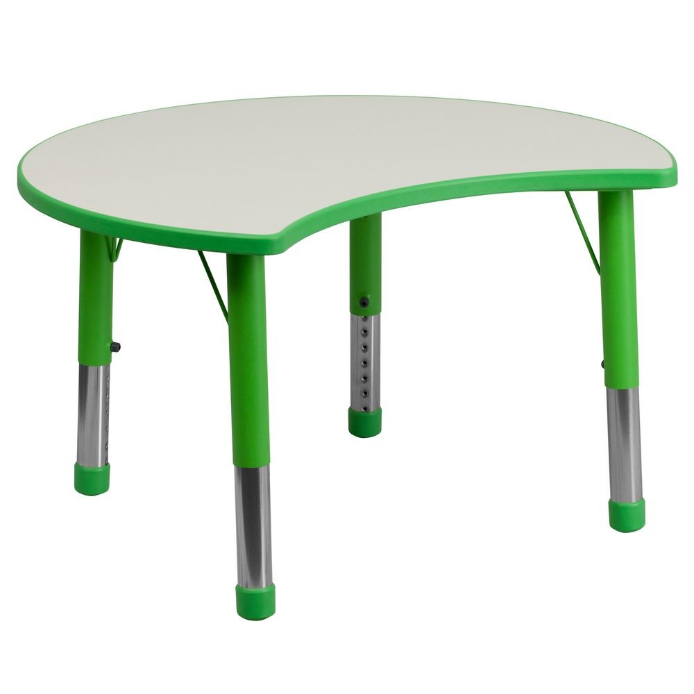 "Flash Furniture YU-YCY-093-CIR-TBL-GREEN-GG Height Adjustable Green Plastic Activity Table with Grey Top, 25-1/8"" x 35-1/2"""