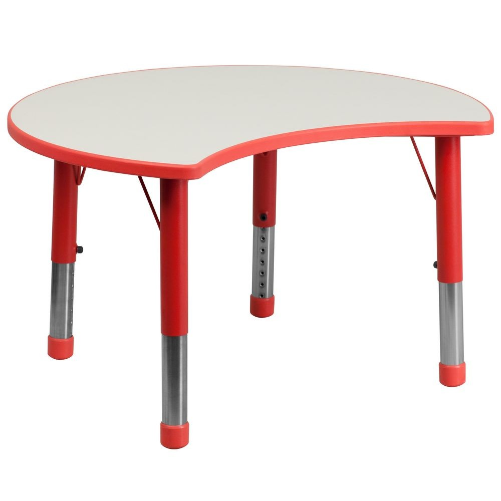 "Flash Furniture YU-YCY-093-CIR-TBL-RED-GG Height Adjustable Red Plastic Activity Table with Grey Top 25-1/8"" x 35-1/2"""