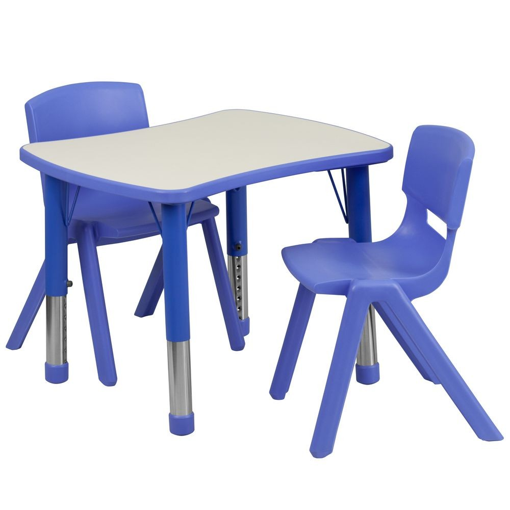 """Flash Furniture YU-YCY-098-0032-RECT-TBL-BLUE-GG Adjustable Blue Plastic Activity Table Set with 2 School Stack Chairs, 21.875"""" x 26.625"""""""