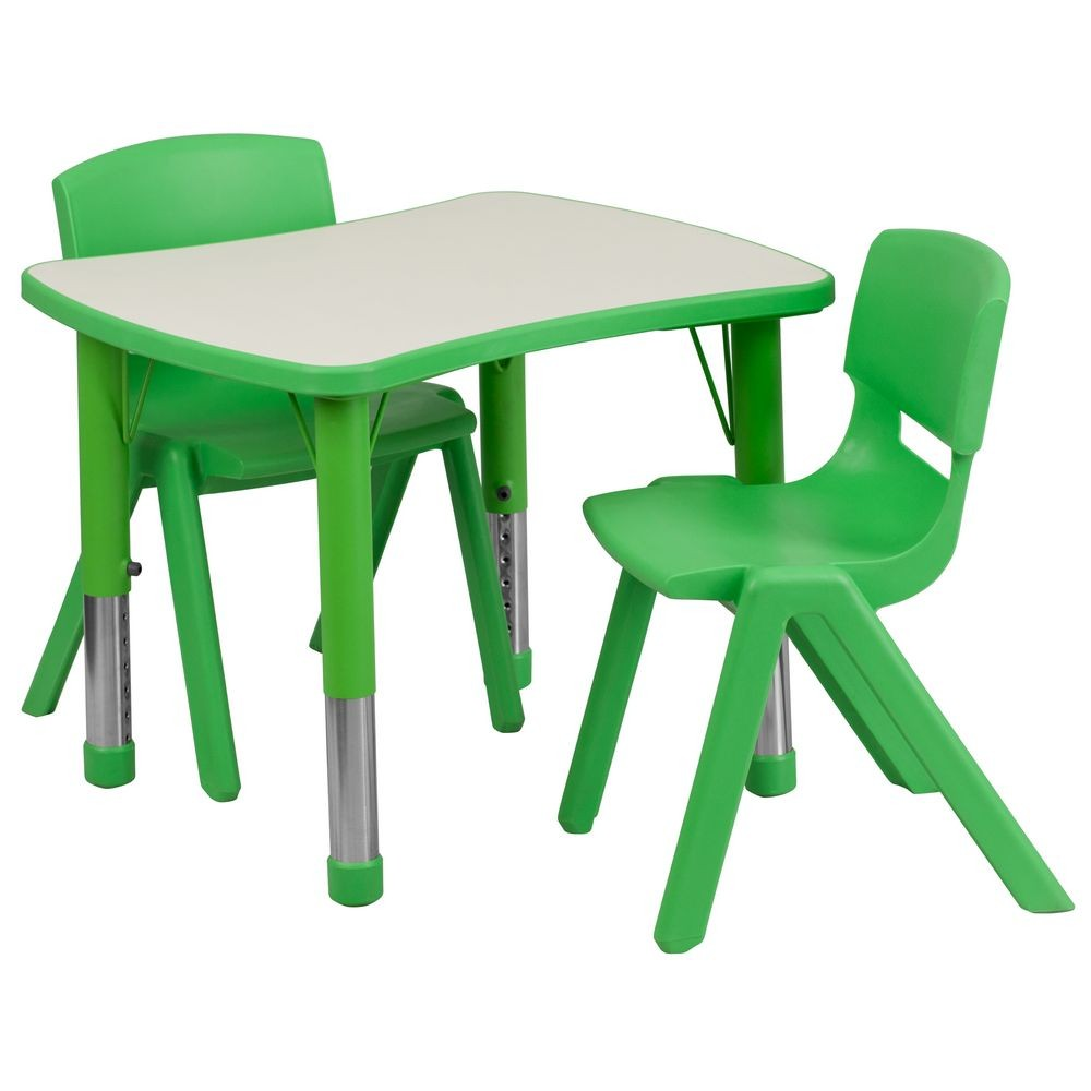 "Flash Furniture YU-YCY-098-0032-RECT-TBL-GREEN-GG Adjustable Green Plastic Activity Table Set with 2 School Stack Chairs 21-7/8"" x 26-5/8"""