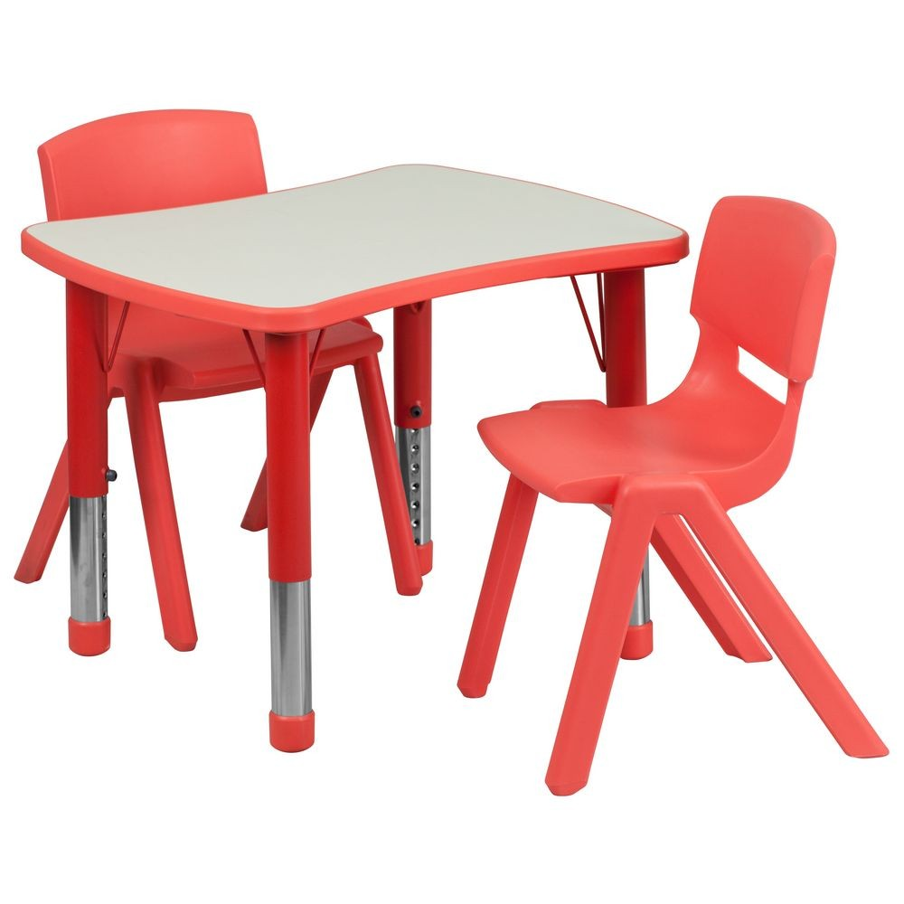 "Flash Furniture YU-YCY-098-0032-RECT-TBL-RED-GG Adjustable Red Plastic Activity Table Set with 2 School Stack Chairs 21-7/8"" x 26-5/8"""