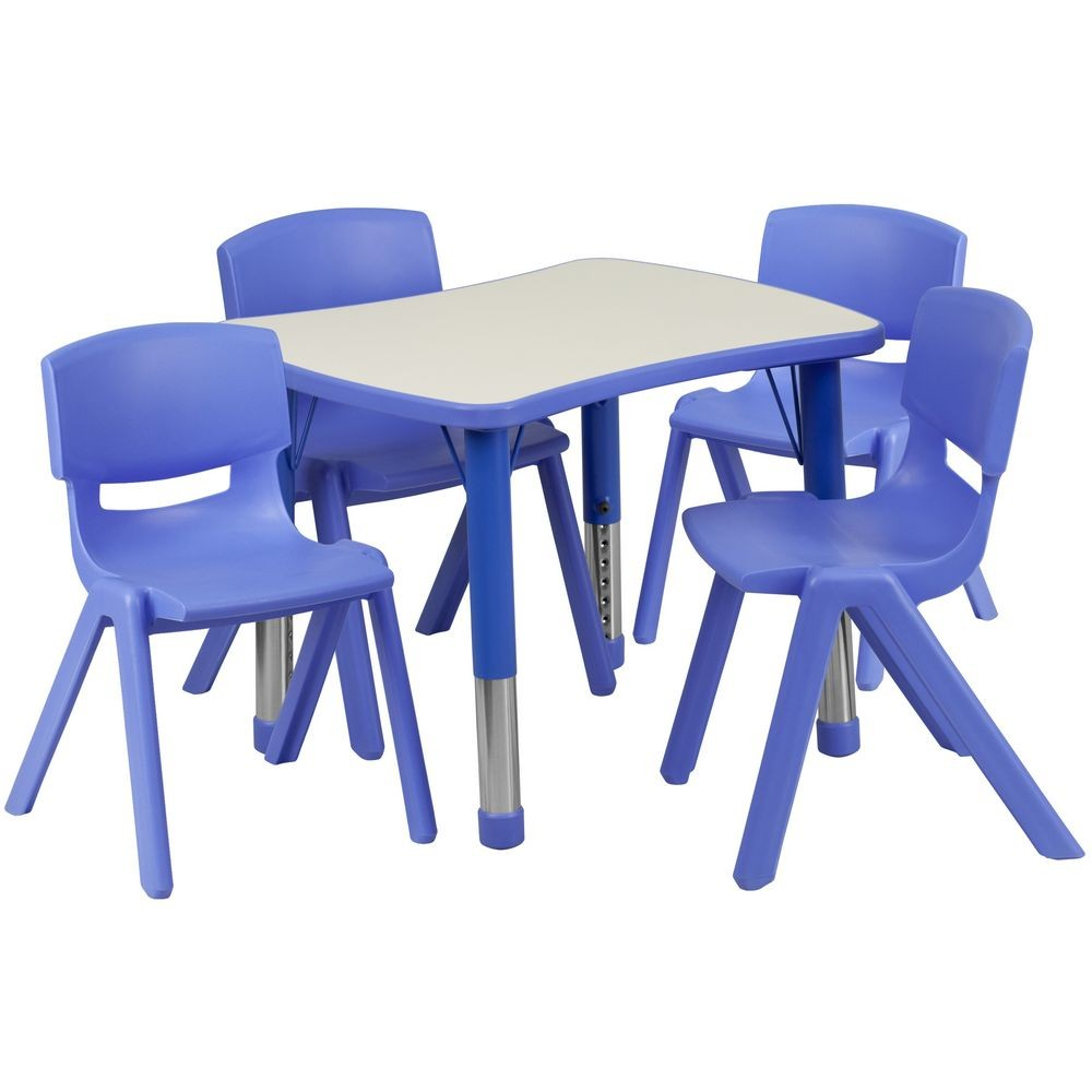 "Flash Furniture YU-YCY-098-0034-RECT-TBL-BLUE-GG Adjustable Blue Plastic Activity Table Set with 4 School Stack Chairs, 21-7/8"" x 26-5/8"""