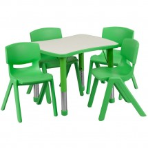 "Flash Furniture YU-YCY-098-0034-RECT-TBL-GREEN-GG Adjustable Green Plastic Activity Table Set with 4 School Stack Chairs 21-7/8"" x 26-5/8"""