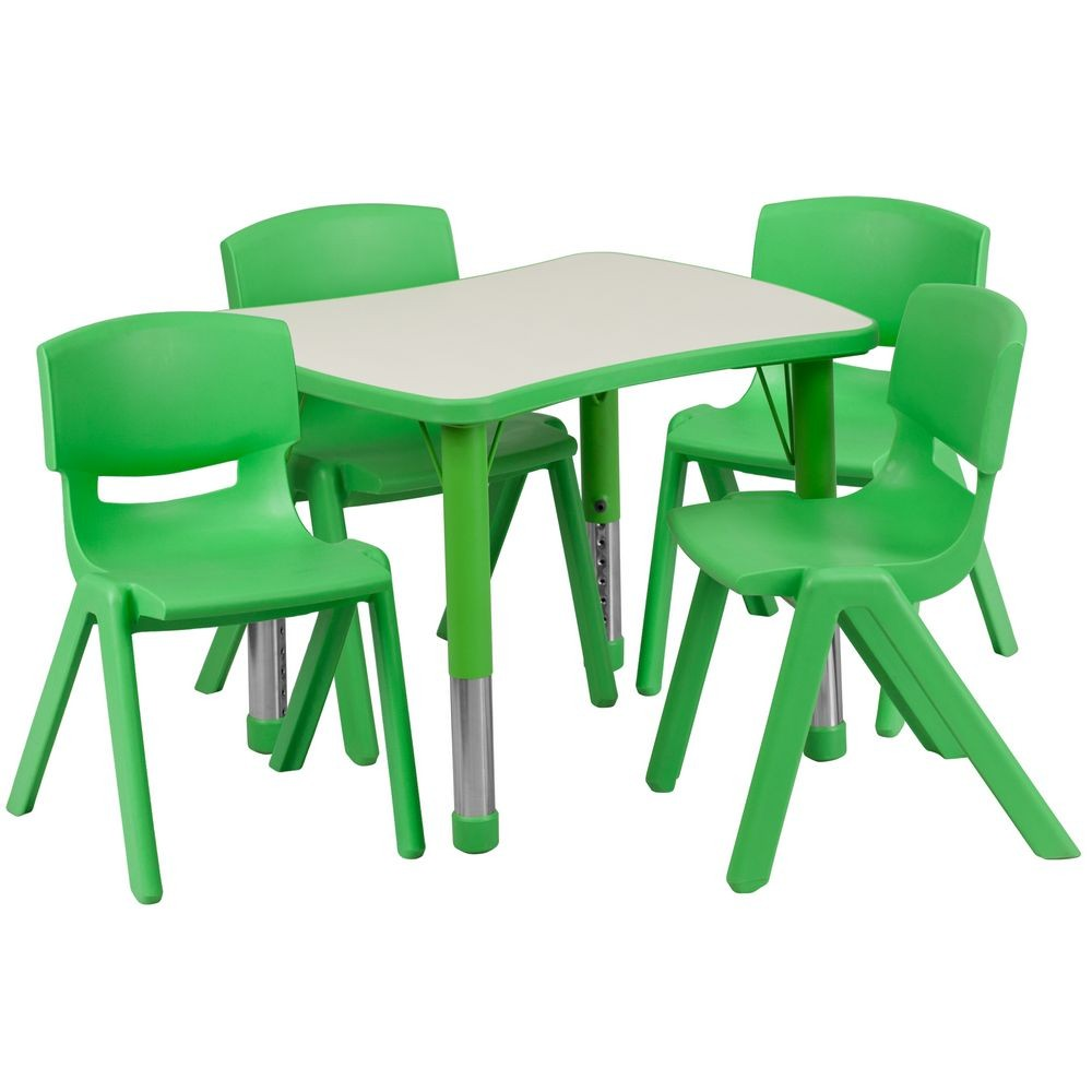 Flash Furniture YU YCY 098 0034 RECT TBL GREEN GG Adjustable Green Plastic  Activity Table Set with 4 School Stack  Furniture YU YCY 098 0034 RECT TBL GREEN GG Adjustable Green  . Green Plastic Stack Chairs. Home Design Ideas