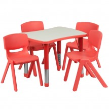 "Flash Furniture YU-YCY-098-0034-RECT-TBL-RED-GG Adjustable Red Plastic Activity Table Set with 4 School Stack Chairs 21-7/8"" x 26-5/8"""