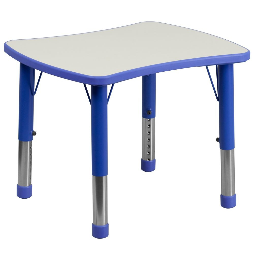 "Flash Furniture YU-YCY-098-RECT-TBL-BLUE-GG Height Adjustable Blue Plastic Activity Table with Grey Top 21-7/8"" x 26-5/8"""