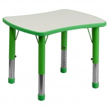 "Flash Furniture YU-YCY-098-RECT-TBL-GREEN-GG Height Adjustable Green Plastic Activity Table with Grey Top 21-7/8"" x 26-5/8"""