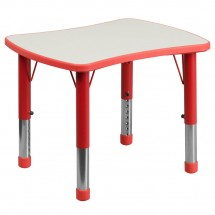 "Flash Furniture YU-YCY-098-RECT-TBL-RED-GG Height Adjustable Red Plastic Activity Table with Grey Top 21-7/8"" x 26-5/8"""