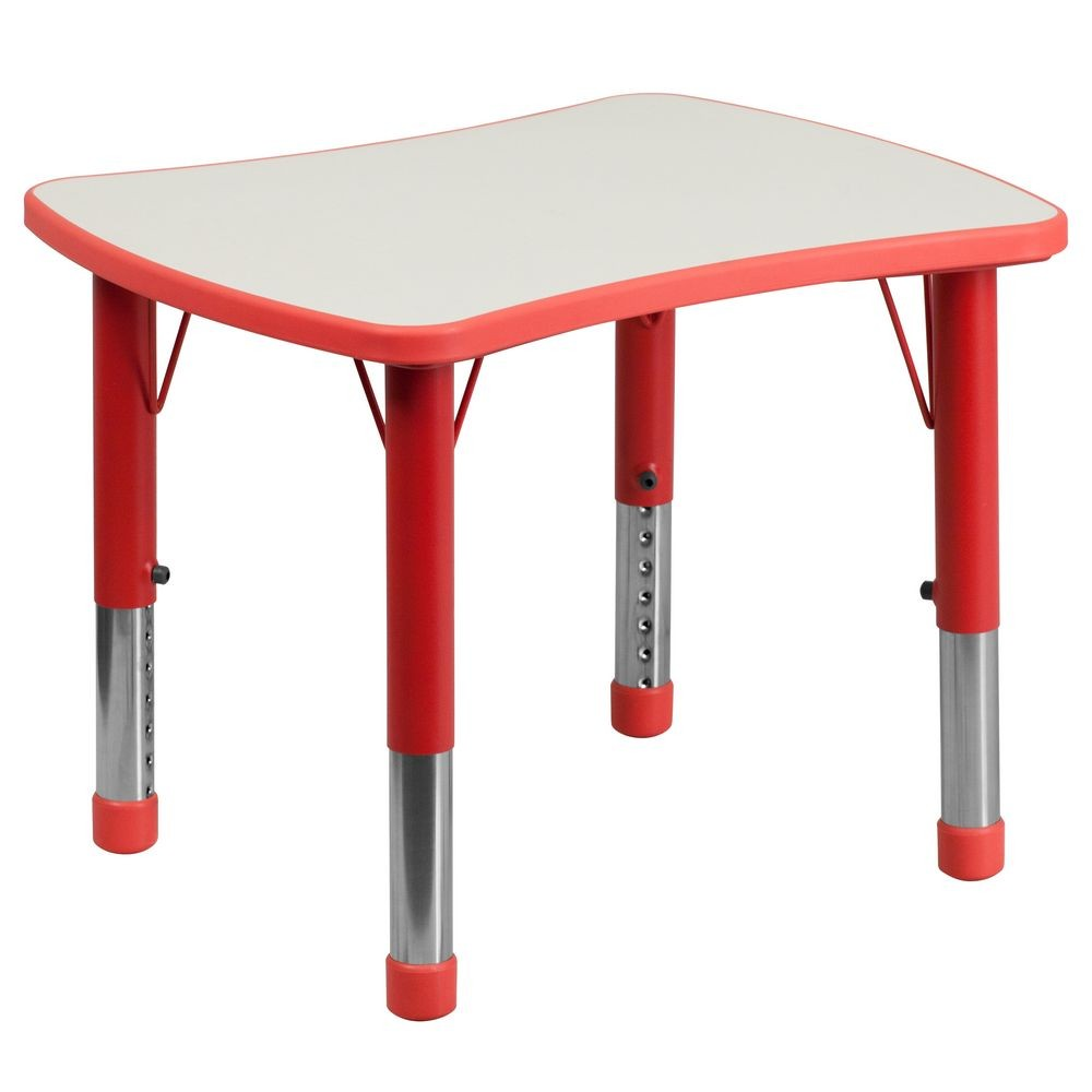 """Flash Furniture YU-YCY-098-RECT-TBL-RED-GG Height Adjustable Red Plastic Activity Table with Grey Top, 21.875"""" x 26.625"""""""