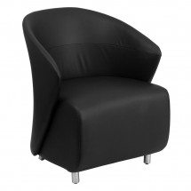 Flash Furniture ZB-1-GG Black Leather Reception Chair