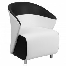 Flash Furniture ZB-3-GG White Leather Reception Chair with Black Detailing
