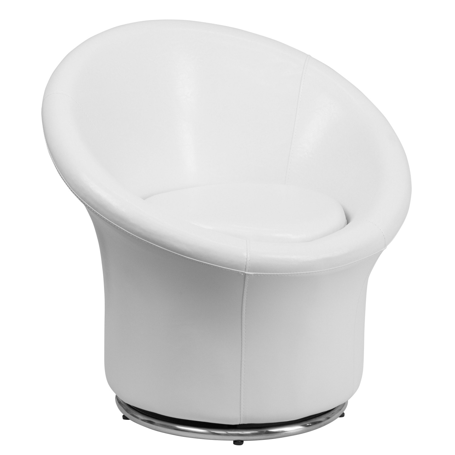 Flash Furniture ZB-3975-WH-GG White Leather Swivel Reception Chair - Retro Style