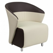 Flash Furniture ZB-5-GG Beige Leather Reception Chair with Dark Brown Detailing
