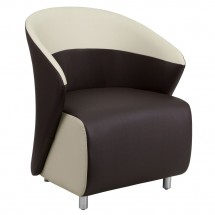 Flash Furniture ZB-8-GG Dark Brown Leather Reception Chair with Beige Detailing