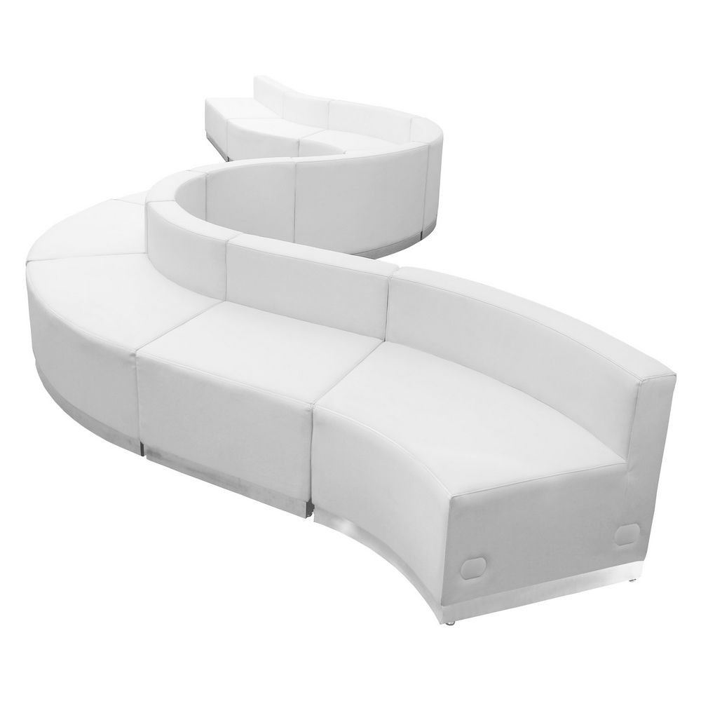 Flash Furniture ZB-803-400-SET-WH-GG HERCULES Alon Series White Leather Reception Configuration, 10 Piece