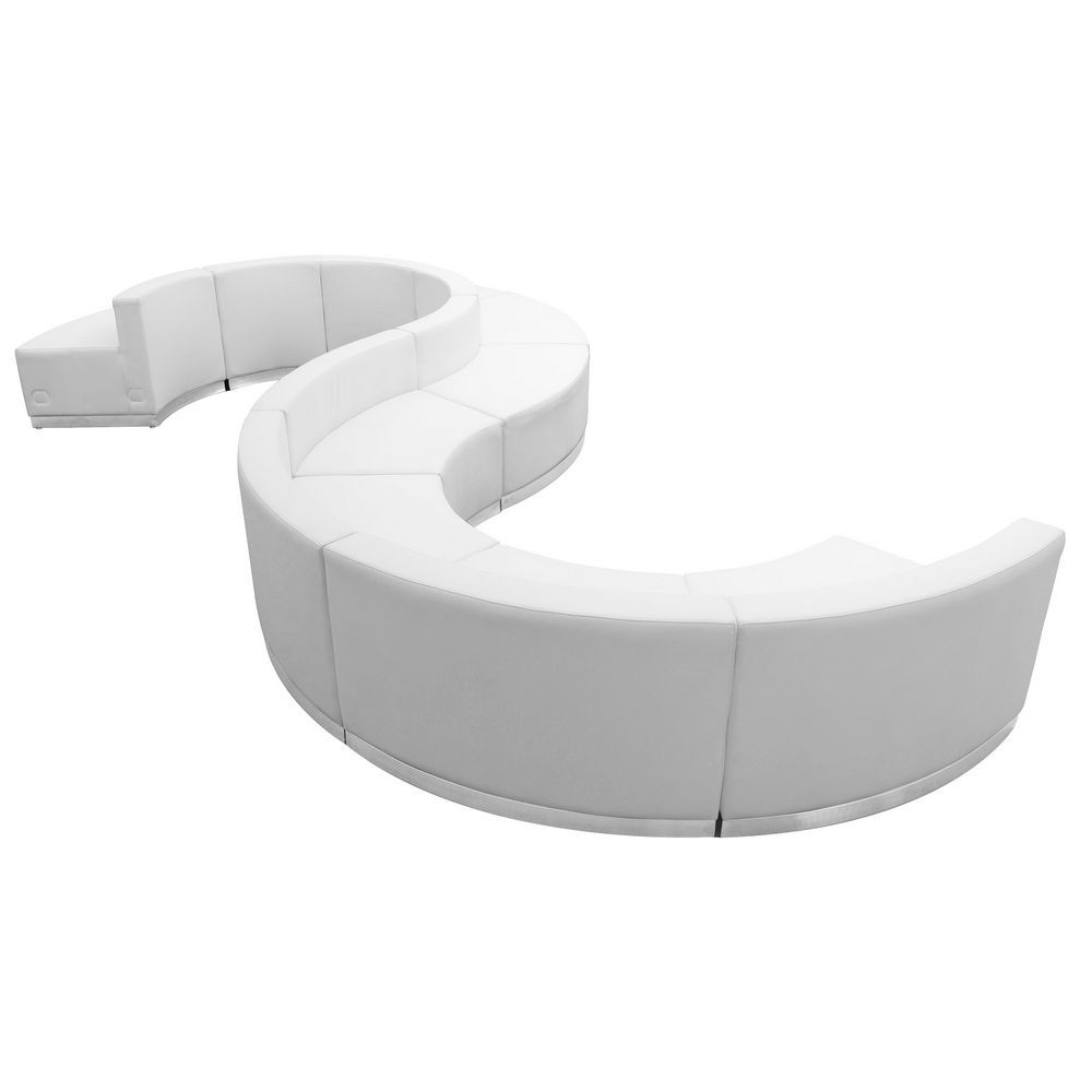 Flash Furniture ZB-803-420-SET-WH-GG HERCULES Alon Series White Leather Reception Configuration, 9 Piece