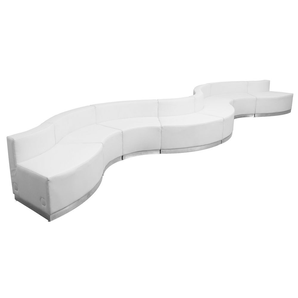 Flash Furniture ZB-803-430-SET-WH-GG HERCULES Alon Series White Leather Reception Configuration, 8 Piece