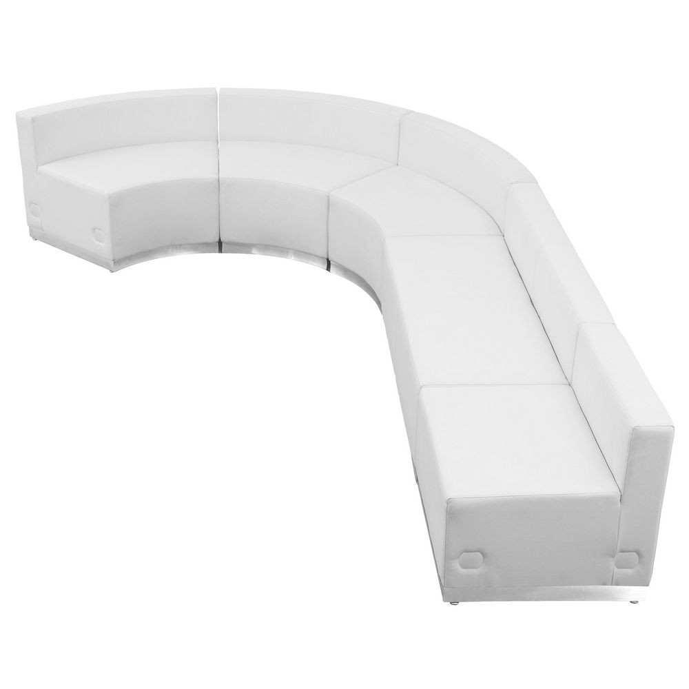 Flash Furniture ZB-803-470-SET-WH-GG HERCULES Alon Series White Leather Reception Configuration, 5 Piece