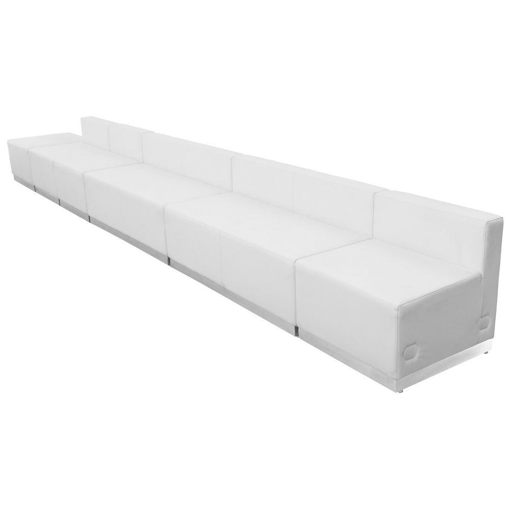 Flash Furniture ZB-803-490-SET-WH-GG HERCULES Alon Series White Leather Reception Configuration, 6 Piece