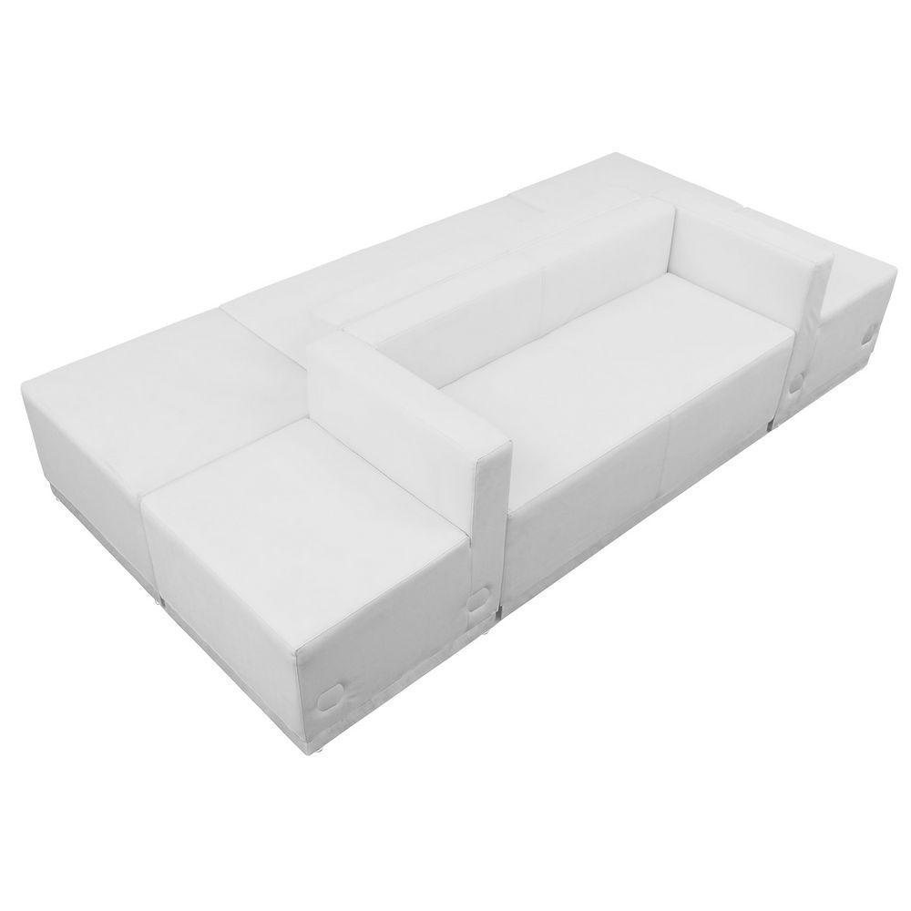 Flash Furniture ZB-803-500-SET-WH-GG HERCULES Alon Series White Leather Reception Configuration, 6 Piece
