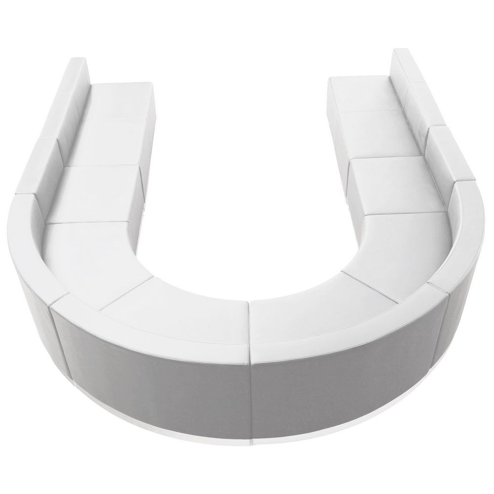 Flash Furniture ZB-803-530-SET-WH-GG HERCULES Alon Series White Leather Reception Configuration, 8 Piece