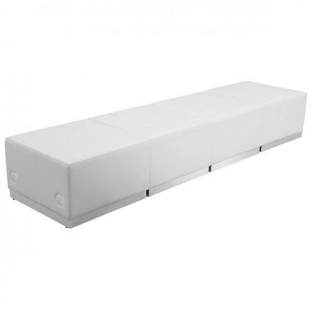Flash Furniture ZB-803-540-SET-WH-GG HERCULES Alon Series White Leather Reception Ottoman Configuration, 4-Pieces