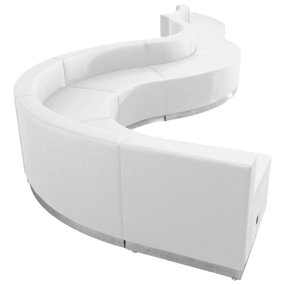 Flash Furniture ZB-803-560-SET-WH-GG HERCULES Alon Series White Leather Reception Configuration, 9 Piece